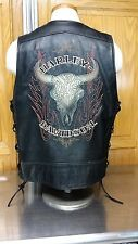 HARLEY DAVIDSON Mens Black Leather Motorcycle Rider Skull Vest Jacket SZ LARGE