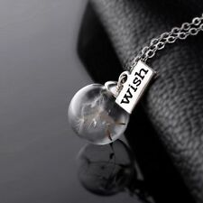 Hot Fashion Silver Wish Tag Dandelion Seed Pendant Necklace Chain Jewelry Charm