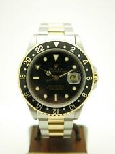 Estate ~ 100% Orig Rolex GMT Master II Date 18k Gold & SS 16713 Watch ~ Exc Cond