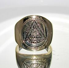 ROUND BRASS MEN'S BAND RING ALL SEEING EYE MASONIC CREST COAT OF ARMS SIZE 10