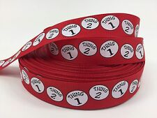 "BTY 7/8"" Cat In The Hat Thing 1 Thing 2 Hair Bows Grosgrain Ribbon Lisa"