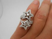 Stunning Designer 750 18k White Gold 1.72ct Diamond Double Star Ring Size 4.5