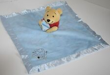 "Disney Blue WINNIE THE POOH Baby Security Blanket 14"" Lovey Comforter Honey Pot"