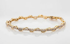 Estate $3000 2ct GRAPE VINE 10k Yellow Gold Diamond Tennis Bracelet