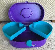 Vintage 1980s CABOODLES Makeup Case Purple W/ Mirror 3 Tier Tray #2615