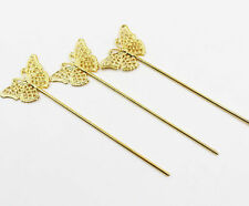 2Pcs Retro Plated Silver Stick Bobby Pin Flower Hairpin Hair Stick Hair Clip