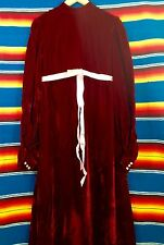 Vintage Costume Red Velour Victorian Gothic Vampire Long Red Pink Dress Gown MED