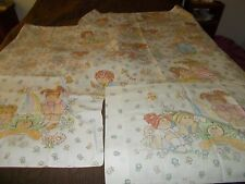VTG 80s CABBAGE PATCH KIDS DOUBLE FULL SET FABRIC 1983 FLAT, FITTED, 2 CASES
