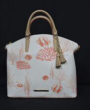 NWT! Brahmin Large Duxbury Canvas Satchel/Shoulder Bag in Red Reef