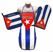 Cuban Flag Kitchen & BBQ Set *NEW* w/ Apron Oven Mitt & Pot Holder Cuba Delantal