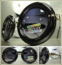CLASSIC VINTAGE RETRO Style SUN GLASSES Unique Round Black & Gold Fashion Frame