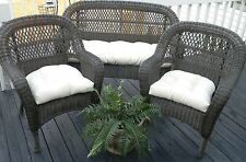 Ivory Cream Natural Solid Cushions for Wicker 3 Pc Cushion Set ~ Indoor Outdoor