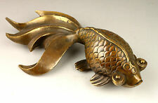 Rare Old Collectable Handwork Decoration Copper Lovely Goldfish Statue