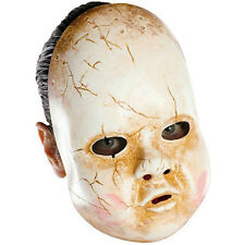 Dirty Cracked Porcelain Plastic Creepy Scary Baby Doll Adult Mask