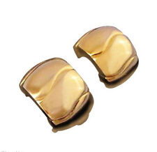 Givenchy Vintage Clip Earrings Wide Gold Hoops Chunky Modernist Designer 38p