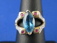 VINTAGE 14K YELLOW GOLD BLUE TOPAZ &  RING SIZE 7