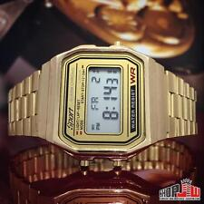 Sport Mens Gold Tone Digital Square Rectangle Fashion Modern Classic Watch