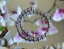"""Peacock Freshwater Pearl  & .925 Sterling Silver Bead Ankle Bracelet 10"""" to 11"""""""