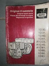 HATZ moteur diesel 1D 30 31 40 41 60 80 81 + A1D 35 : catalogue de pièces 96