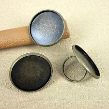 4pcs antiqued bronze  round cabochon finger ring  design base DIY making G2027