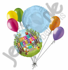 7 pc Happy Birthday Woodland Critters Fox Balloon Bouquet Party Animal Shower