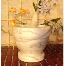 """1 Set White Natural Marble Mortar and Pestle 3"""" Herb Spice MRGR003 NEW"""