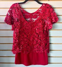 Red Adult Medium Short Sleeve Floral Shiny Knit Top Attached Camisole