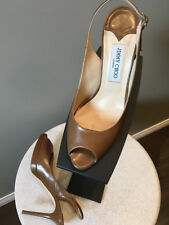 Jimmy Choo Sz 41 Brown Leather Slingbacks Shoes