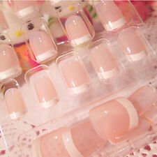 Women's French Style DIY Manicure Art Tips False Nails with Glue 24 pcs New 2016