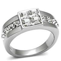 TK487PB SIGNET PRINCESS  MENS SIMULATED DIAMOND MANS RING STAINLESS  STEEL 316L