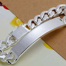 """925 STERLING SILVER PLATED 8"""" MEN'S CURB ID BRACELET"""