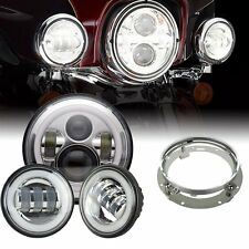"7"" LED Daymaker Headlight Passing Light For Harley Davidson Touring Road King"