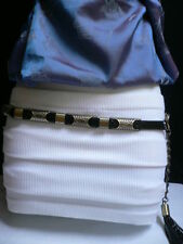 "NEW WOMEN HIP WAIST BLACK FAUX LEATHER GOLD METAL MOROCCAN THIN BELT 34""-39"" M/L"