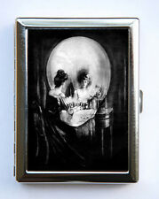 SKULL ILLUSION Cigarette Case Business Card Holder vanity punk Goth victorian