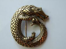 HATTIE CARNEGIE alligator crocodile pin brooch. Gold tone, rhinestone.