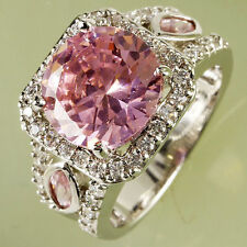 Fashion Pink Topaz & White Topaz Gemstones Silver Women's Ring New Gift Size 7