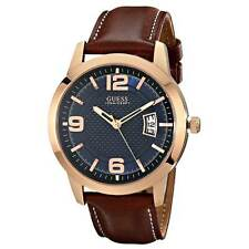 Guess U0494G2 Men's Blue Dial Honey Brown Leather Strap Date Watch