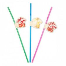 Straws with Hawaiian Shirts  24cm Plastic Assorted colours 2 packs of 8