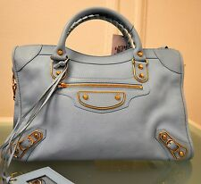 BALENCIAGA 2015 METALLIC EDGE CITY HANDBAG Gold Hardware BLUE NEW LARGE $2125!!