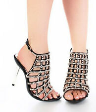 NEW Black RHINESTONE ANKLE STRAP Cage cut out Peep toe HIGH HEEL SANDALS Sz 5.5