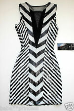 NWT bebe black white deep v mesh sequin contrast party top dress XS sexy 0 2