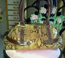 New The Find Faux Snake Skin Handbag with Rhinestone Clasp,brown bag/purse/beige