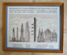 RARE FRAMED COPY FROM ORIGINAL LENGTH TITANIC AGAINST BUILDINGS OF THE TIME