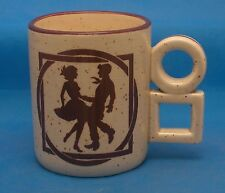 Circles and Squares Vintage Japanese Coffee Mug Tea Cup Square Dancing