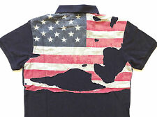 Ralph Lauren Denim and Supply Faded Navy Blue Destroyed Flag Polo Shirt Slim M