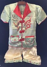 Vtg Set Chinese Style Silk Jacket/Robe Pant Embroidered Dragon Lounge PJ Minty!