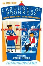 "Vintage Disney Carousel Of Progress Tomorrowland 1967 - 1973 - 8.5"" X 11"" Poster"