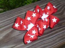Hair Bows a pair of Med Patriotic white stars on red grosgrain Hair Bows