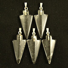5 CLEAR CRYSTAL QUARTZ Gemstone ARROW HEAD Pendants 30mm