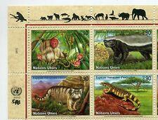 UN Geneva 2002 Endangered species block of 4 mint
